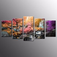 FRAMED Canvas Print Poster Colorful Trees Waterfall Home Wall Art Decoration-5pc