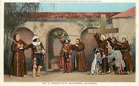 DB Postcard CA L281 Mission Play San Gabriel Excommunication of Rivera by Serra