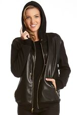 Karen Kane Black Faux Leather Zip Front Hooded Stretch Jacket, S - MSRP $198