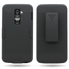 For LG G2 D802 Black Hybrid Case + Belt Clip Holster Cover  Accessory