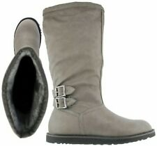 ladies new below the knee grip sole fur lined buckled faux leather boots size 6