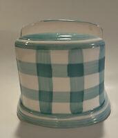 Cracker Barrell Green White Checkered Napkin Holder Ceramic 5.5 Inches Tall EUC