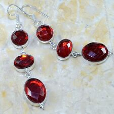 NATURAL FACETED RED RAINBOW TOPAZ  925 SILVER  EARRINGS