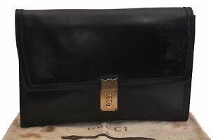 Authentic GUCCI Brief Case Leather Black B7638
