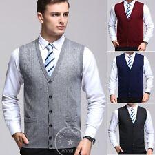 Mens Knit Buttons Cardigan Fine Knitwear Vest Sleeveless Plain Sweater