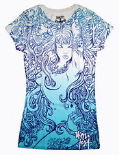 IRON FIST Song for Siren T-Shirt Blue Tattoo Rose Sea RARE NWOT Ladies Womens