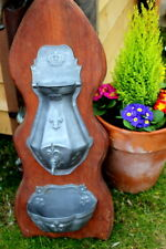 Heavy Antique French Vintage Pewter Lavabo Fountain with Oak stander Complete