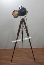 ROYAL INDUSTRIAL SEARCHLIGHT ANTIQUE BRASS FLOOR LAMP SPOT LIGHT TRIPOD STAND