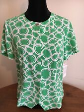 NWT Kathy Che Short Sleeve Blouse Button Front Green Circle Print Size 10