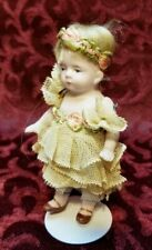 Antique German All Bisque 620 Miniature 4 1/2in Doll Wig Dressed Dollhouse Size