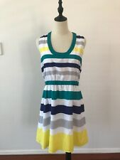 French Connection Womens Sleeveless Multicolour Striped Knee Length Dress 10