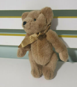 HARRODS TEDDY BEAR JOINTED WITH GOLD BOW 23CM!