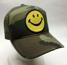 Happy Face Snapback Trucker Hat Distressed Camo Camouflage Ballcap Smiley Smily