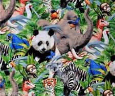Jungle Animals ~ Panda Elephant Zebra Chimp Gazelle 100% Cotton Quilt Fabric BTY