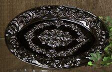 Drake Design Black Onyx Ceramic Scroll Oval Platter  ~   NEW
