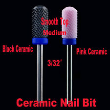 2pcs Medium 3/32″safety Smooth Top Bit electric drill Ceramic nail file-shiyudie
