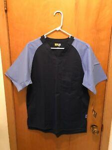 Wonder Flex Mens Scrub Shirt Navy Blue w/Lt Blue Sleeves 6818A Size Small