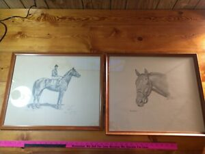 ALLEN BREWER JR. SIGNED MAN O' WAR & NASHUA. HORSE EQUINE ARTIST PRINTS. RARE!!