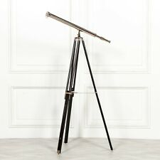 MARINE FULL SIZE NAUTICAL CHROME NICKEL PLATED TELESCOPE ON WOODEN TRIPOD STAND