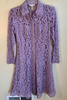 Nanette LePore Size 4 Lavender Lace Collared Lined Midi Length Shirt Dress