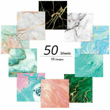 50PCS Origami Paper Marble Pattern Bronzing Single-sided Unique Designs Folding