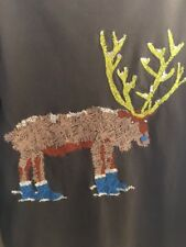 EUC Boys Mini Boden Stitched Moose in the Boots Gray Long Sleeve Tee Top Sz:6-7Y