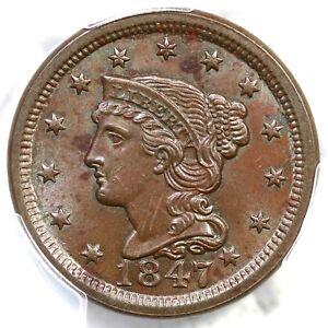 1847 N-3 R-3 PCGS MS 63 BN Braided Hair Large Cent Coin 1c