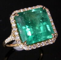 5.5ct Colombian Emerald Diamond Ring 18k White Rose Yellow Gold or Platinum