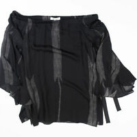 NEW Halston Heritage Silk Off the Shoulder Flowy Sleeve Black Blouse Shirt Top 6