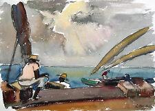 "Ludwig Luis Neu 1897-1980 Hamburg / Aquarell ""Hafen von Bahia"" 1970 Brasilien"