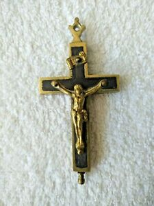 Antique Relic Reliquary Cross Crucifix Pendant Brass Wood 9.5 cm