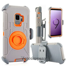 For Cell Phone Hybrid Rugged Armor Gray+Orange Case With Stand Belt Clip Holster
