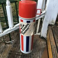 Vtg Red White Blue Genuine Thermos Brand Stripe Tall Metal Glass Hot Cold 70s