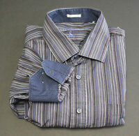 Taylor Byrd Button Front Striped Shirt Long Sleeve Polka Flip Cuff Size XXL