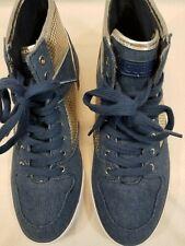 Men's Size 10 Guess Blue Denium & Silver High Top Sneakers