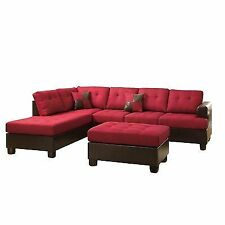 Poundex Bobkona Winden Blended Linen 3-piece Reversible Sectional Sofa With Ottoman Carmine  sc 1 st  eBay : best selling sectionals - Sectionals, Sofas & Couches