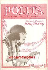 """POLA NEGRI Sheet Music """"Polita"""" Pola Negri 1924"""