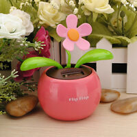 Flip Flap Solar Powered Flower Flowerpot Auto Car Dashboard Swing Dancing Toy FT