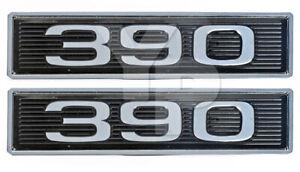 390 6.4L 390ci 6.4 Liter Engine Black & Chrome Plated Hood Scoop Emblems - Pair