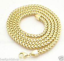 """36"""" 5mm Italian Square Franco Chain Necklace 14K Yellow Gold Clad 925 Silver"""