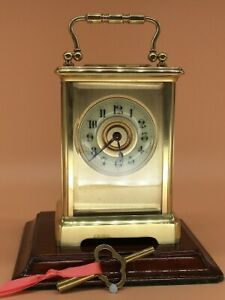 ANTIQUE CARRIAGE CLOCK WITH MASKED DIAL. FULL CLEAN & SERVICE Sept. 2021