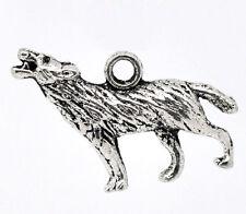 KUS 20 Antiksilber Wolf Anhänger Perlen Beads 25x18mm