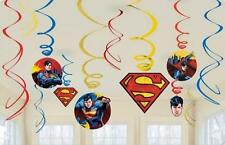 Superman Children's hero Birthday Party Pack of 12 Hanging Swirl Decorations
