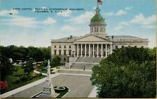 State Capital Showing Confederate Monument in Columbia SC Postcard A17