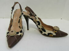 CASADEI Animal Print Brown Leather and Canvas Pointed Slingback Pumps Size 7.5