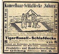 Kamelhaar-Schlafdecke & Tigerflanell Göding Mähren Historische Annonce 1910