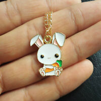 Cute Rabbit Carrot Lovely 1 Piece Pendant Enamel Necklace Gift Fashion Jewelry