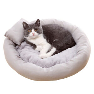 Pet bed (grey) - Warm and Comfy with added Pillow for extra comfort