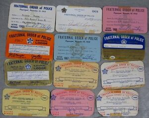 Lot of 12 1960's Fraternal Order of Police Card Robert Cowles Steubenville