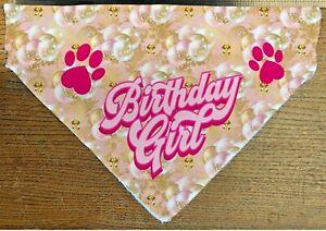 Birthday Girl Dog Cat Bandana Slide on Collar Neckerchief Cute Scarf Handmade UK